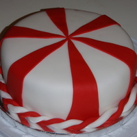Peppermint Chocolate cake with creme de menthe flavored buttercream under the fondant.