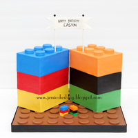 "Lego Cake I made this cake for my son's 6th birthday. I gave him six legos (see the tiny ones on the cake base) and told him to ""design..."