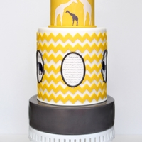 Chevron Inspired Safari Themed Baby Shower Cake I made this cake for a friend who is adopting a baby from Uganda. The center medallion is a verse that has upheld them through this journey...