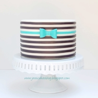 Horizontal Striped Cake I used the wax paper transfer technique I came up with to lay out the stripes. You then apply the stripes to the cake like a sticker! Works...
