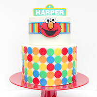 "Elmo Cake I made this cake for my baby girl who just turned two and my nephew who turned four on the same day. One side says ""Harper"" and..."