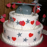 Graduation Cake cap cake with hearts and stars