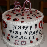 Lady Bug Birthday Cake black, red, silver and white Lady bug birthday cake