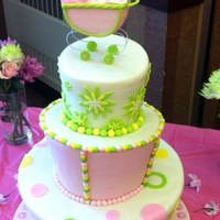 Leah's Baby Shower Cake   I made this baby shower cake for a friend having a girl. It was my first topsy turvy cake.