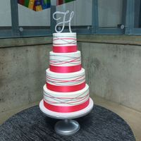 Pink And Silver Wedding Cake   Tiers are lemon cake with raspberry filling and chocolate cake with mint buttercream filling.