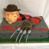 Freddie Krueger Okay this is the weidest kids birthday cake I have made. Freakey it was looking at me the whole time. 100% edible. Head was RKT and fondant...