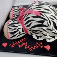 Zebra Baby Belly My first pregnant belly cake. It was actually pretty easy. I used the wilton soccer ball pan with a 9 inch round, and the sports ball pans...