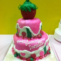 Strawberry Shortcake Theme all fondant & candy melt details. strawberry topper is outof RKT coverd n red candy melts.