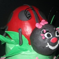 Ladybug Cake   lady bug is out of RKT & black fondant & red candy melts(chocolate modeling recipe from edna DLC website.)