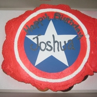 Captain America Cupcakes   i airbrush the cupcakes red..and used wilton sugar sheets for the logo.