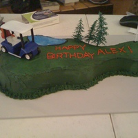"Golf Course My nephew wanted a ""golf course"" for his 5th birthday. He had to settle for one hole. Yellow cake w/ buttercream icing; the kids..."