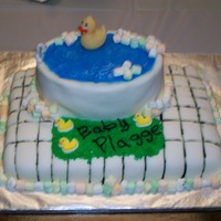 Bathtub/duck This was for a coworker's surprise baby shower. They didn't know the sex so we stuck.. It my first square fondant cake...came up...