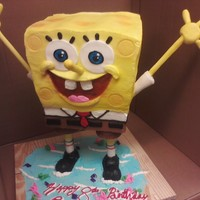 Spongebob buttercream, fondant. Made structure to stand cake upright and was successfully delivered. Very happy