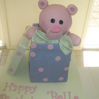 "Teddy In A Box A Debbie Brown design.6"" choc mud cake with fondant lid & teddy"