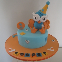 "Hoot 8"" choc mud cake with Hoot (childrens' tv character) topper"