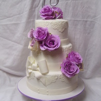 Small Wedding Cake Buttercream Finish Wfondant Lace Amp Bow   Small Wedding Cake. Buttercream finish w/fondant lace & bow.