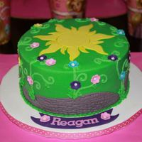 "Tangled  7"" rd cake for a small birthday party. I needed a design for a tangled cake that wasn't very big and I found this great design by..."