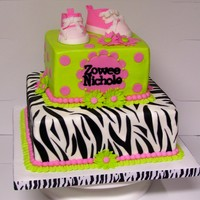 Lime Green And Zebra Stripes 6 and 9 inch squares with BC finish. Fondant accents and fondant converse baby shoes. TFL!
