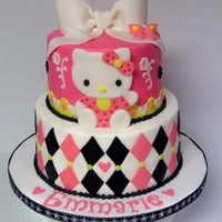 Hello Kitty Cake for my little niece. Chocolate 6/8 rds with vanilla BC finish and all fondant accents. Hello Kitty and the bow are also fondant. TFL...