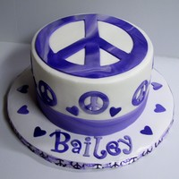 "Peace   Small 6"" rd with BC finish. Peace signs are made of fondant. TFL!"