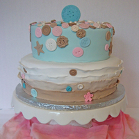 Cute As A Button Baby Shower Cake. Cute as a button theme cake with lots of buttons as decor. Chocolate cake with raspberry filling.