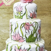 3 Tier Cake With Floral Painting Painting on my 'canvas'