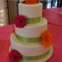 Gerber Daisy I thought this was simple but beautiful. Top and bottom tiers were red velvet with vanilla buttercream & middle tier was vanilla with...