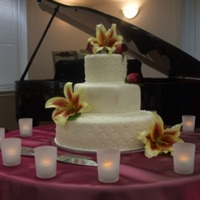Suann Suann's cake featured a beautiful quilted pattern on the top and bottom tiers, with an elegant brushed on pearlized lace pattern on...
