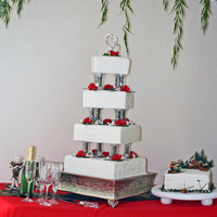 A Cake For A Special Adopted Daughters Wedding   Red, White and Camo Wedding Cake, with lots of piping!!
