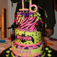 Grand Daughters Sweet 16 Cake   Made this cake for my granddaughter, she love Batman!!