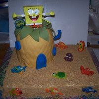 Spongebob This is a white cake that was tinted yellow. Sheet cake is covered with buttercream and crushed cinnamon graham crackers for the sand. The...