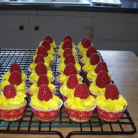 Lemon Raspberry Cupcakes Lemon cake iced with a dollop of lemon buttercream icing topped with a fresh raspberry