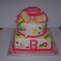Bottom's Up Baby Shower Cake Baby Butt, legs, and feet are made out of rice treats covered in marshmallow fondant. Top cake is white cake swirled pink with an orange...