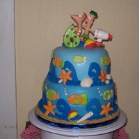 Phineas And Ferb Top tier is white cake torted with orange buttercream filling, bottom tier is chocolate torted with strawberry ganache filling. Entire cake...