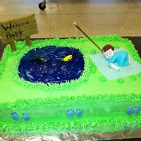 13X9 Cake Buttercream Icing Water Is Blue Tinted Gel Hair Tip Used For Grass Fondant Fish And Blanket Footprints Were Store Bought Fi 13x9 cake. Buttercream icing. Water is blue tinted gel. Hair tip used for grass. Fondant fish and blanket. Footprints were store bought....
