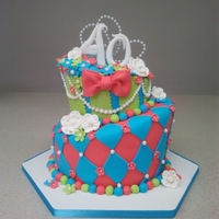 Whimsical 4Oth What a fun bright 40th cake with beaded pearl accents!