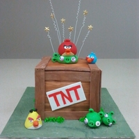 Angry Birds My friend and workmate made this cute little cake for her sons birthday! Fondant everything!