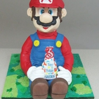 Mario Chocolate cake with a chocolate filling.Some rice crispy !Thanks for viewing!
