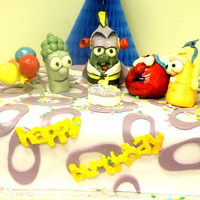 Veggie Tales   Little boys birthday party with Veggie Tale theme. Characters are fondant. Cake was yellow and italian meringue buttercream