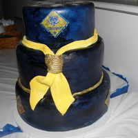 Boyscout Blue And Gold Banquet Everything is edible. Made the kerchief out of fondant. The back actually had the emblem on it but I didnt get a picture of it!!TFL