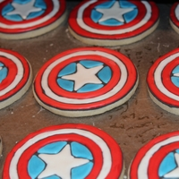 Captain America Cookies vanilla sugar cookie with royal icing