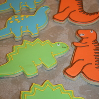 Dinosaur Cookies Sugar cookies with royal icing.