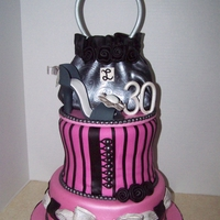 Purse/shoe Cake This cake was for a surprise 30th birthday. Purse is rk covered in fondant, Shoe is gumpaste.