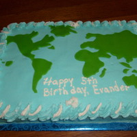 Evander's World OK, so this first cake is for a 4 1/2 year old MAP GENIOUS. He's turning 5 and grandma is going to place little animals on the wrong...