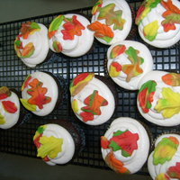 Autumn Cupcakes The cuppies are DDCSC and filled with marshmallow/cream cheese and iced with cream cheese buttercream. The leaves are butter flavored...