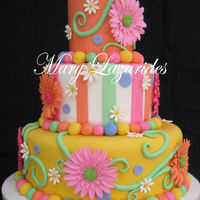Whimsical Gerbera Daisy Cake This cake was a bridal shower cake inspired by the Pink Cake Box.