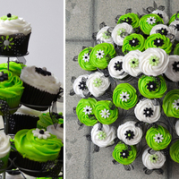 Lime Green And Black Cupcakes