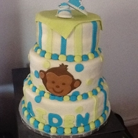 Monkey Theme Baby Shower Cake Monkey baby shower with baby converse accent!