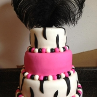 Zebra & Pink With Feathers