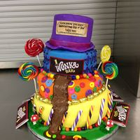 Willy Wonka Topsy Turvy Cake Made For The Cast Party Chocolate River Issue Of Ganache Mushrooms Are Made Of Modeling Chocolate Fondant An Willy Wonka topsy turvy cake made for the cast party. Chocolate river issue of ganache. Mushrooms are made of modeling chocolate. Fondant...